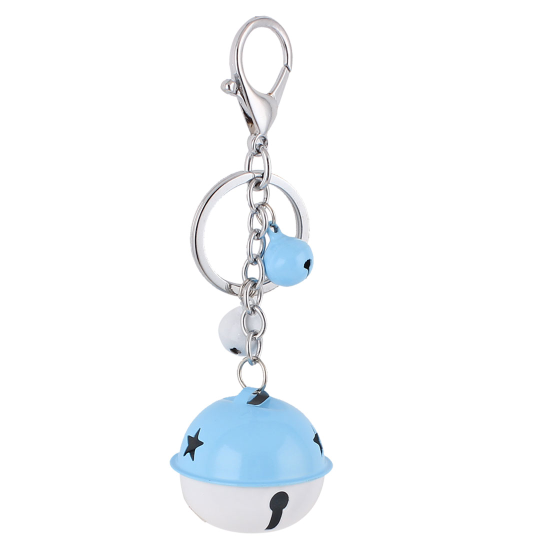 Metal Bells Pendant Lobster Clasp Split Ring Keyring Keychain Key Chain Bag Purse Ornament Blue White