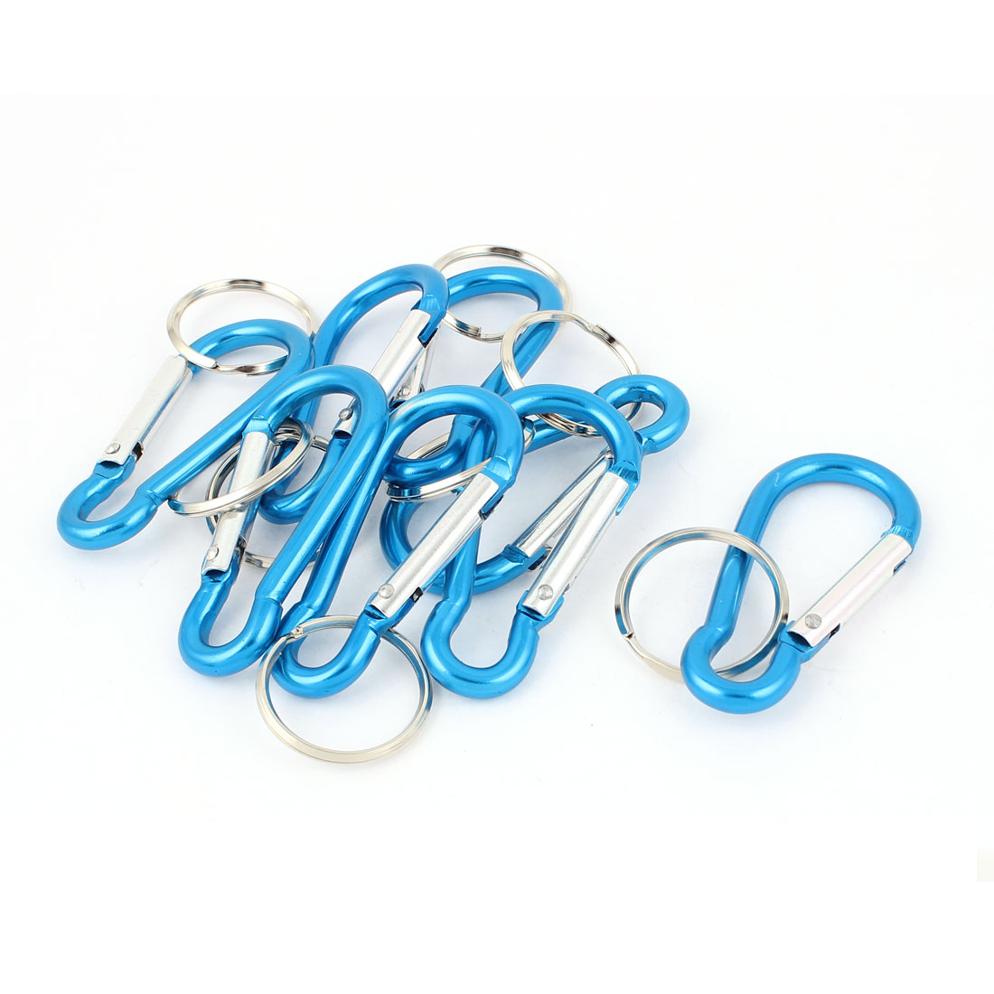 8pcs Blue Metal Carabiner Clips Spring Belt Snap Key Chain Ring Keychain Camping Hook