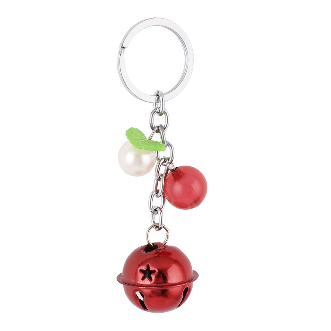Bells Beads Detail Split Ring Keyring Keychain Key Holder Bag Purse Ornament Red White