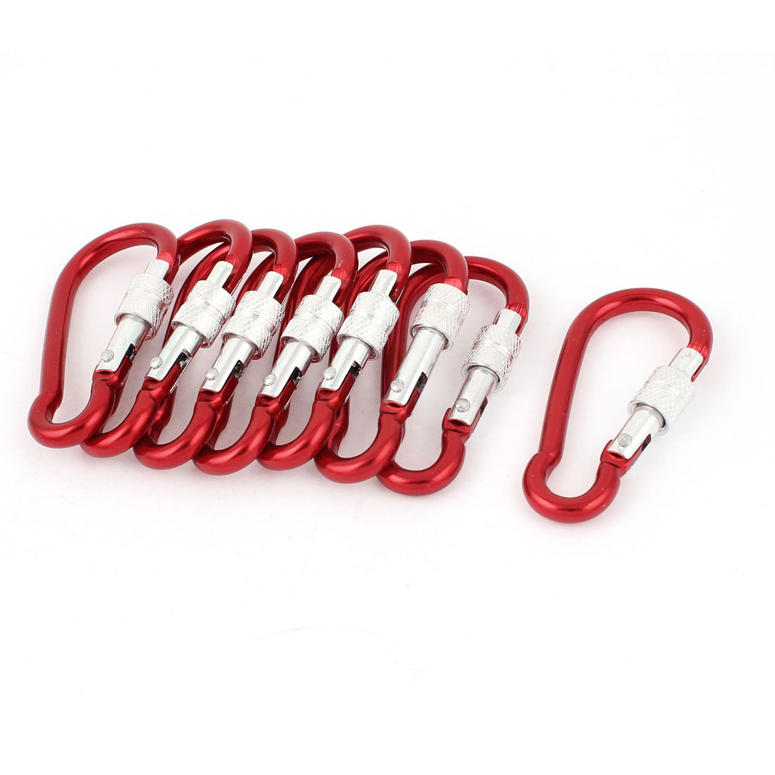 Outdoor Camping Red Spring Clip Snap Carabiner Hook Keyring Karabiner Key Holder 8pcs