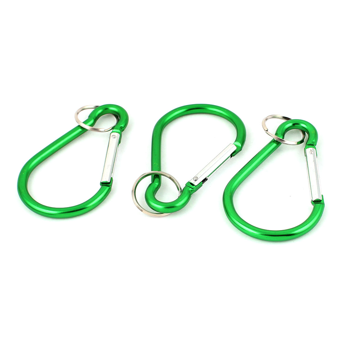 Outdoor Camping Metal Carabiner Spring Loaded Clips Hike Hook Key Chain 3pcs Green