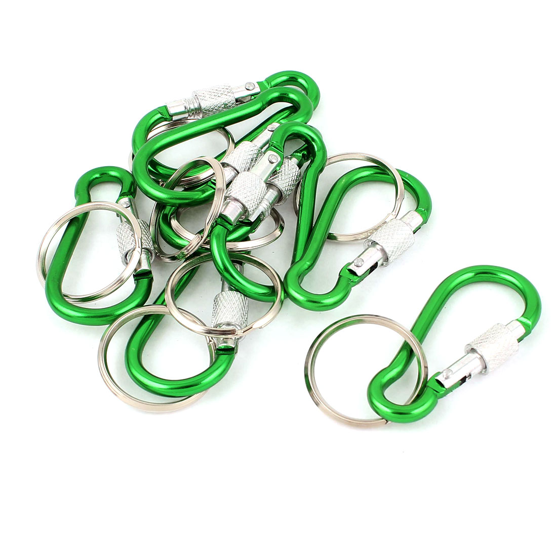 8pcs Green Screw Lock Carabiner D-Ring Camping Clip Hike Hook Keychain Keyring Key Ring Chain