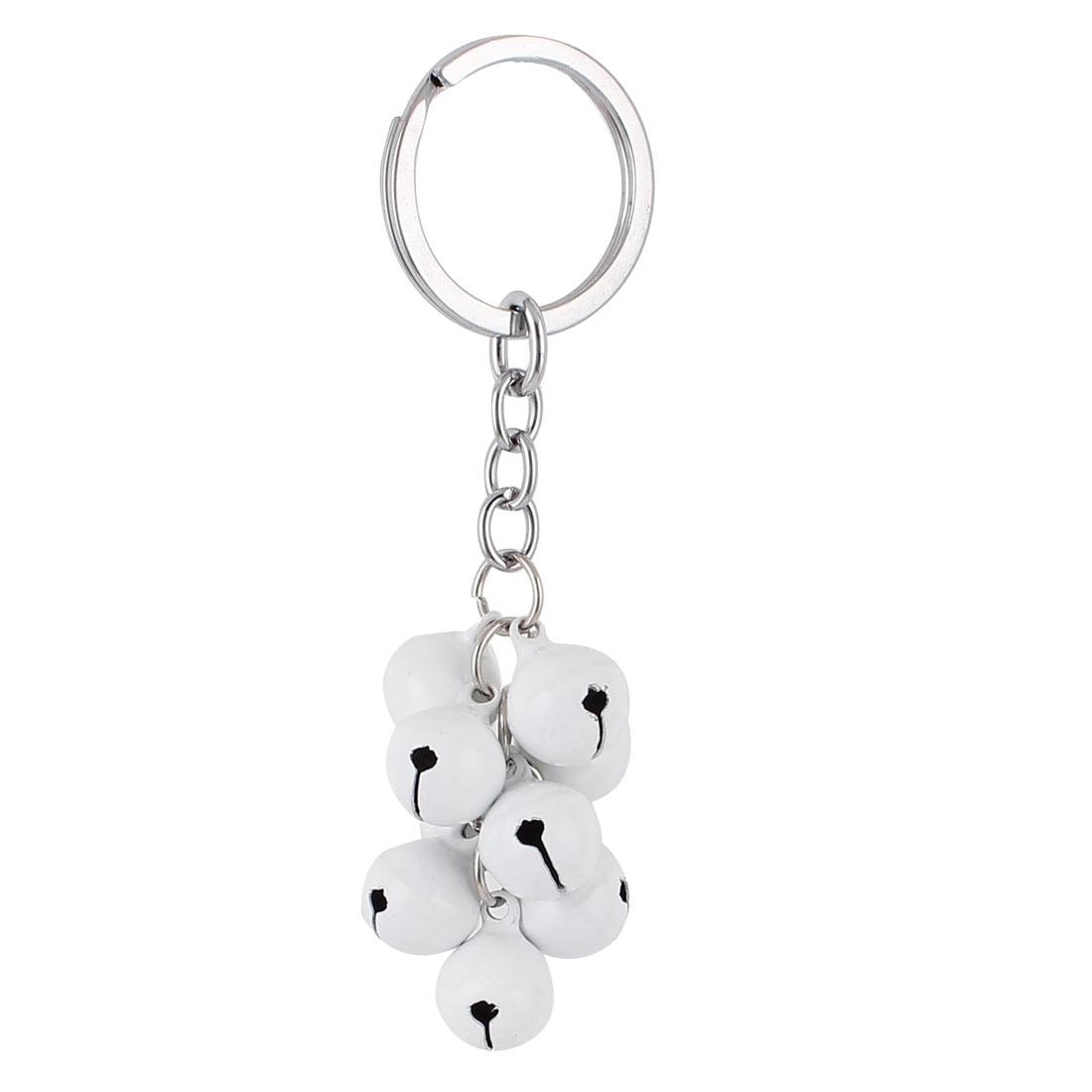 White Metal Bells Pendant Split Ring Keyring Keychain Key Chain Hanging Purse Ornament