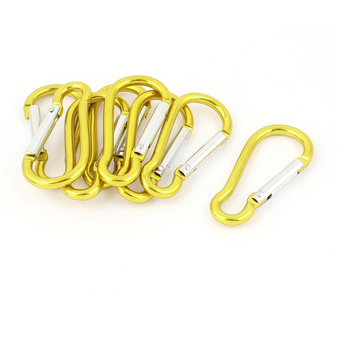 Cycling Camping Spring Clip Snap Carabiner Hook Keychain Karabiner Bottle Holder 8pcs Yellow