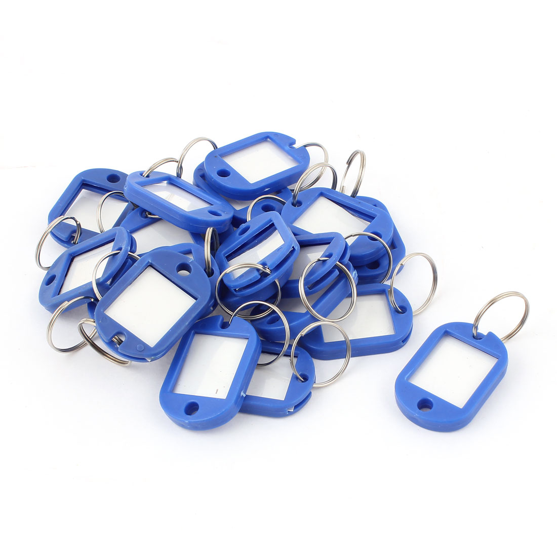 20pcs Blue Plastic Key Fobs ID Label Luggage Tags Name Card w Keyring Split Ring
