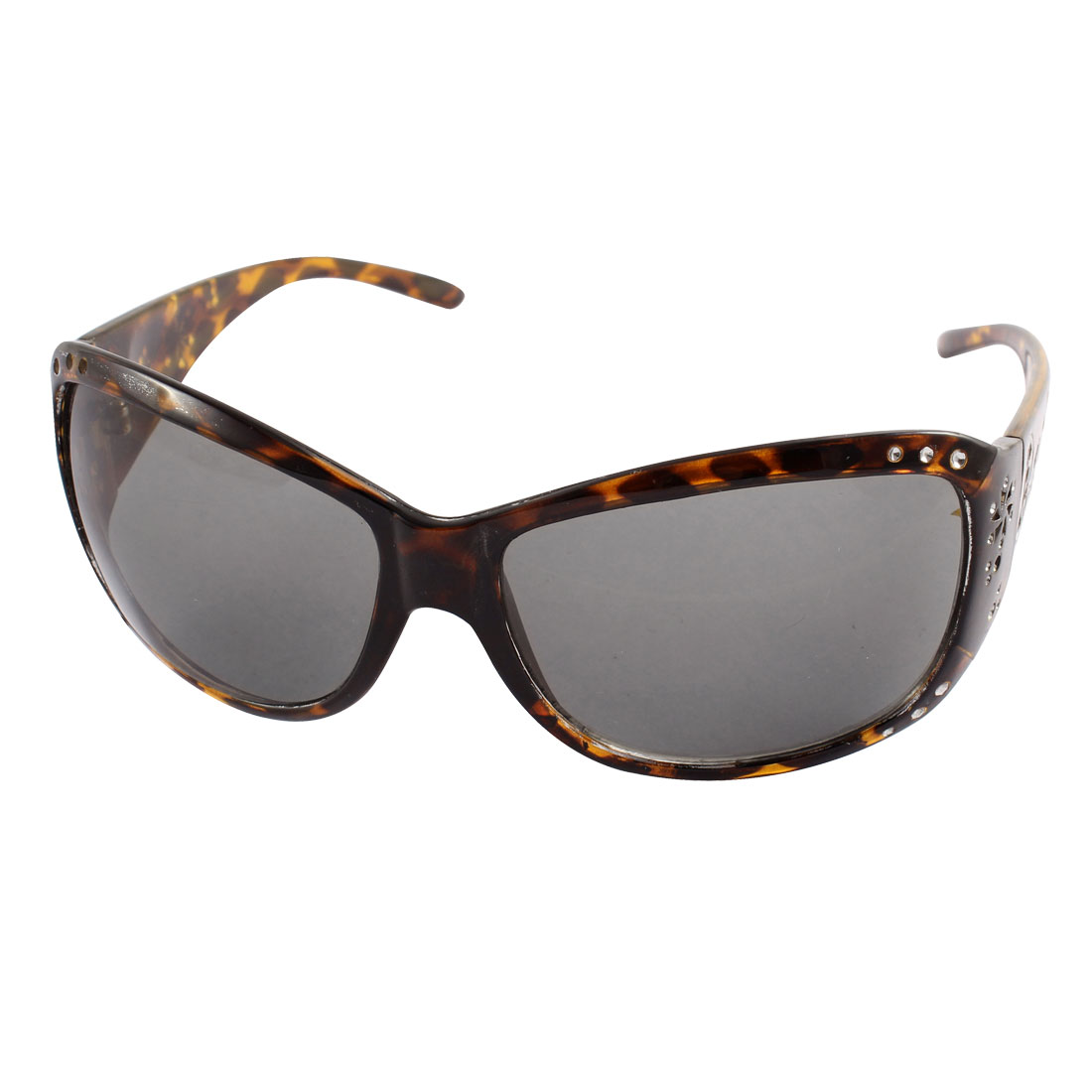 Leopard Print Pattern Rhinestone Inlaid Butterfly Design Full Frame Sunglasses Brown