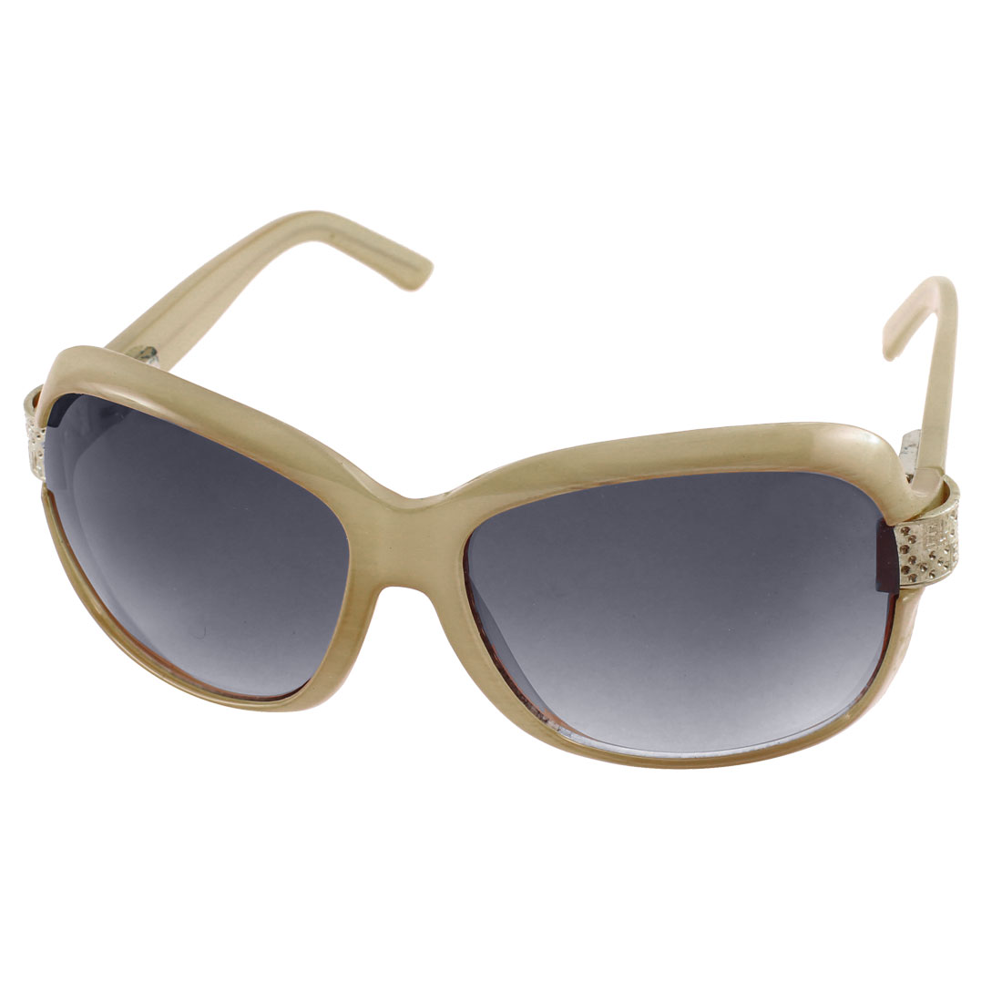 Semi-Circle Metal Decor Full Frame Single Bridge Eyewear Sunglasses Ecru