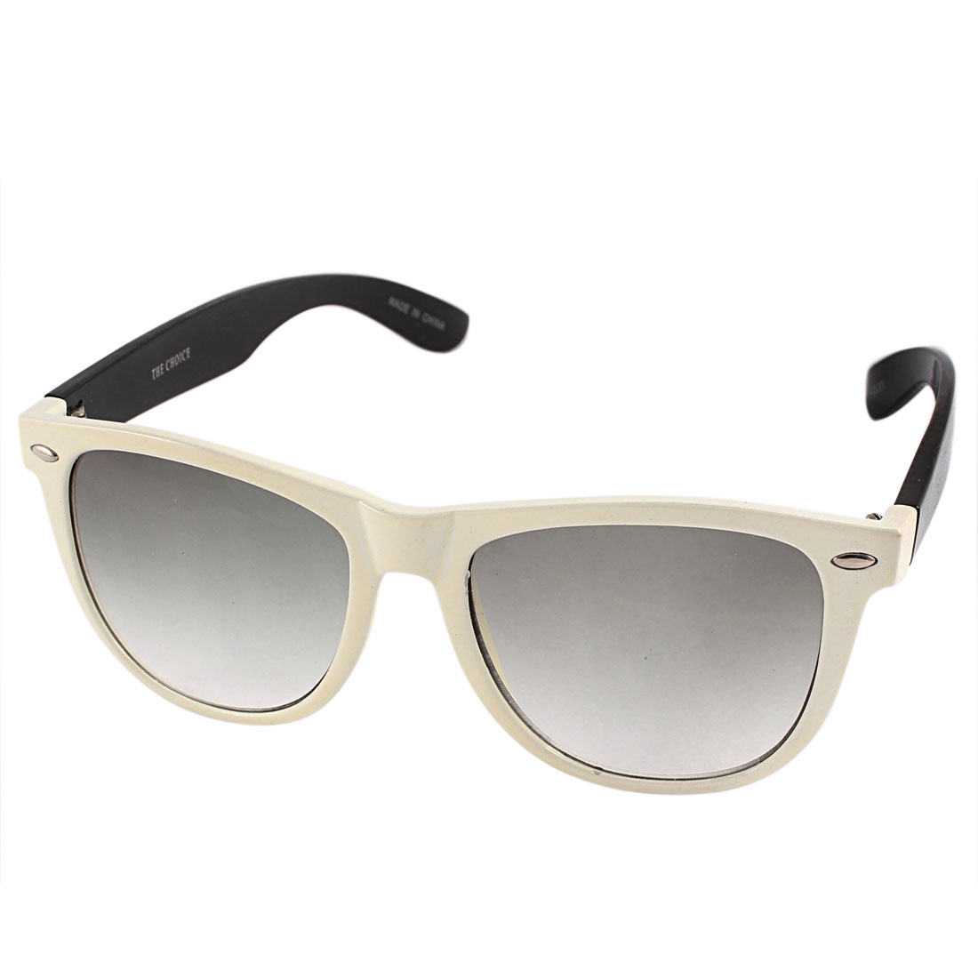 White Black Plastic Oval Full Frame Single Bridge Sunglasses for Unisex