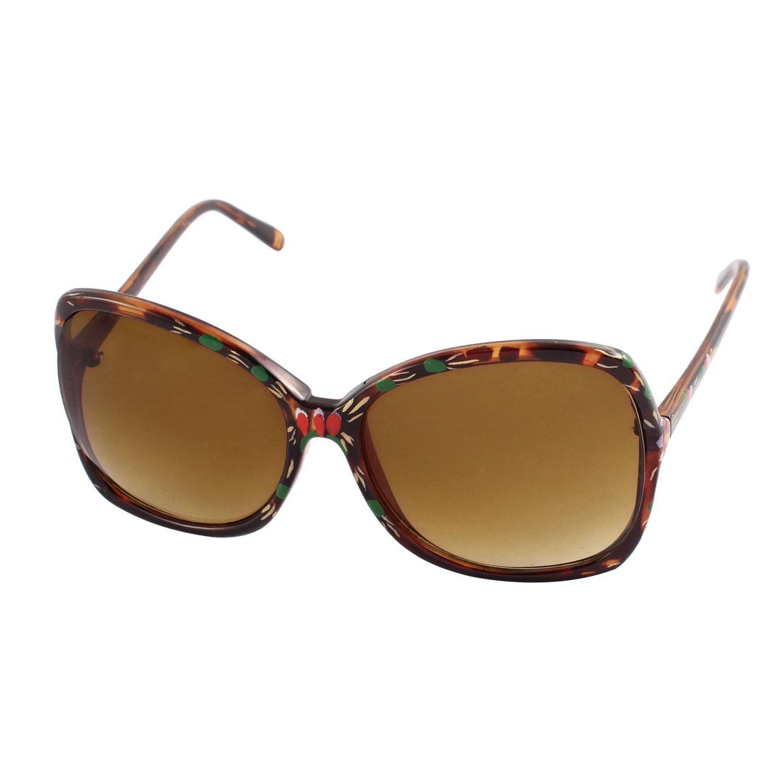 Plastic Booming Flower Printed Full Frame Single Bridge Oval Lens Sunglasses Brown