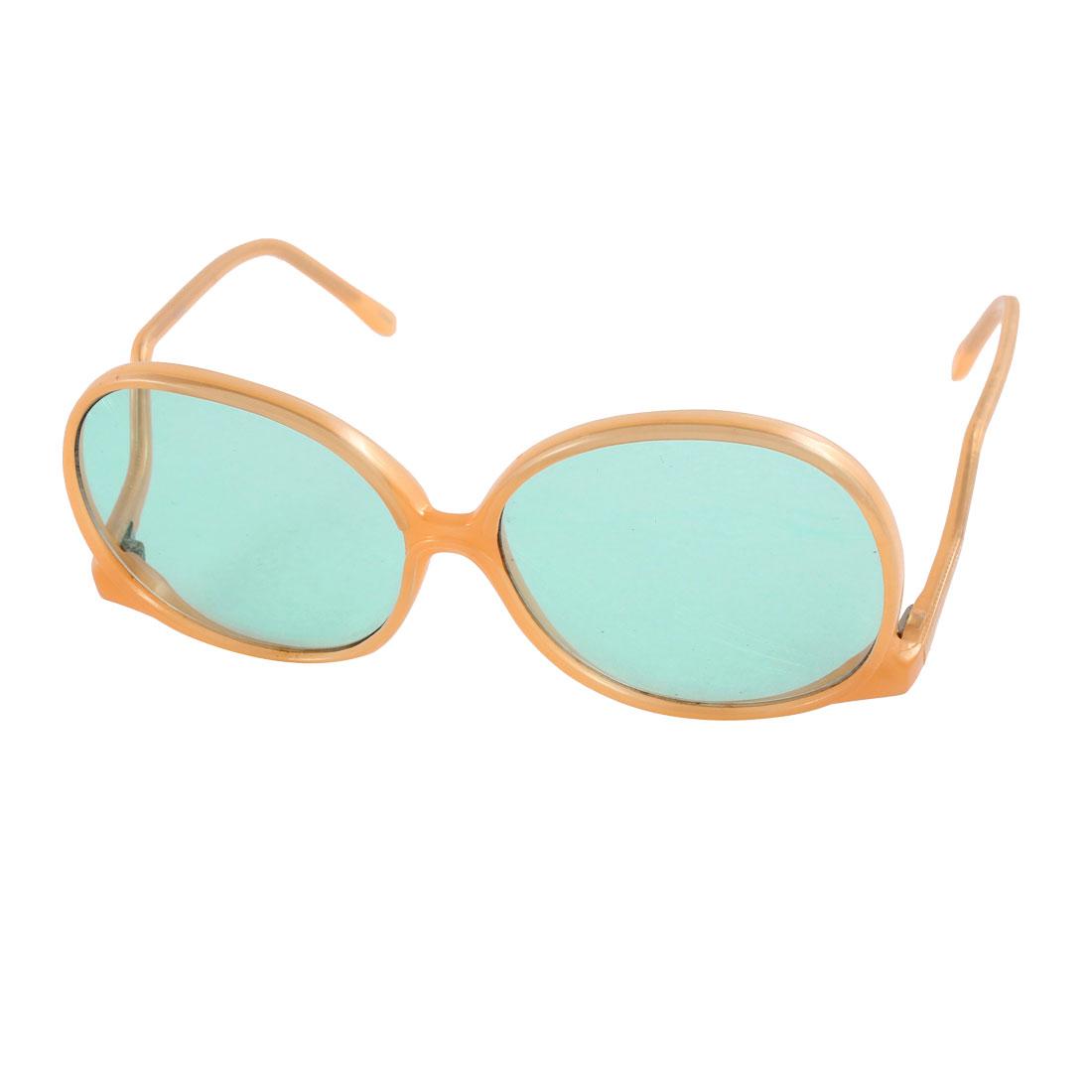 Light Orange Plastic Round Shape Full Rim Single Bridge Sunglasses for Lady