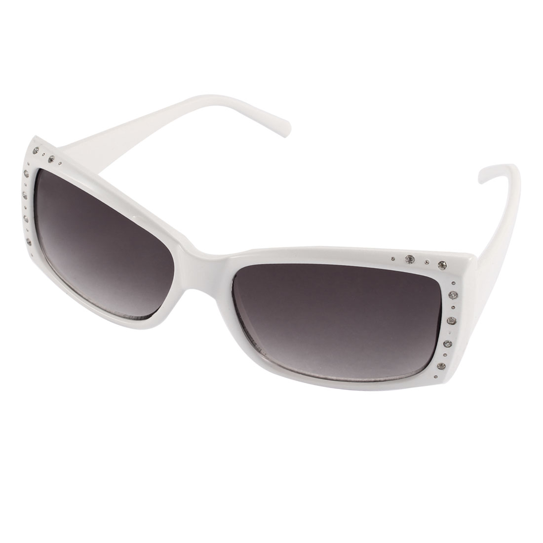White Plastic Rectangle Full Frame Glittery Rhinestone Inlaid UV400 Protection Sunglasses