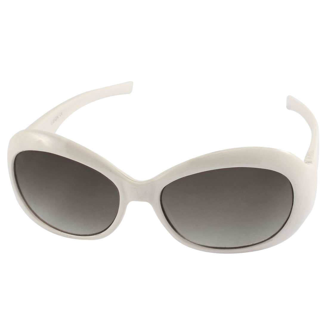 White Plastic Oval Full Frame Single Bridge Colored Lens Unisex Sunglasses