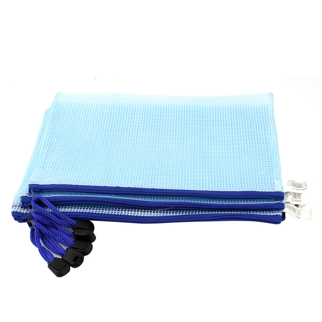 PVC Zippered Gridding Checkbook ID A5 Document File Bag Holder Blue 5pcs