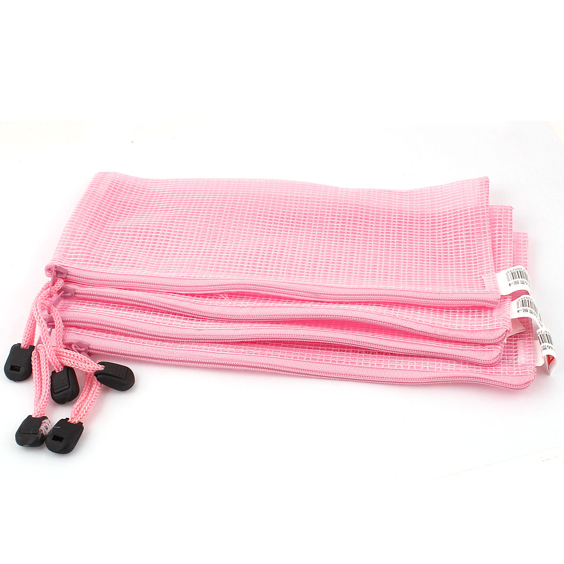 Zippered PVC Mesh A6 Paper Document File Storage Bag Holder Pouch Pink 5pcs