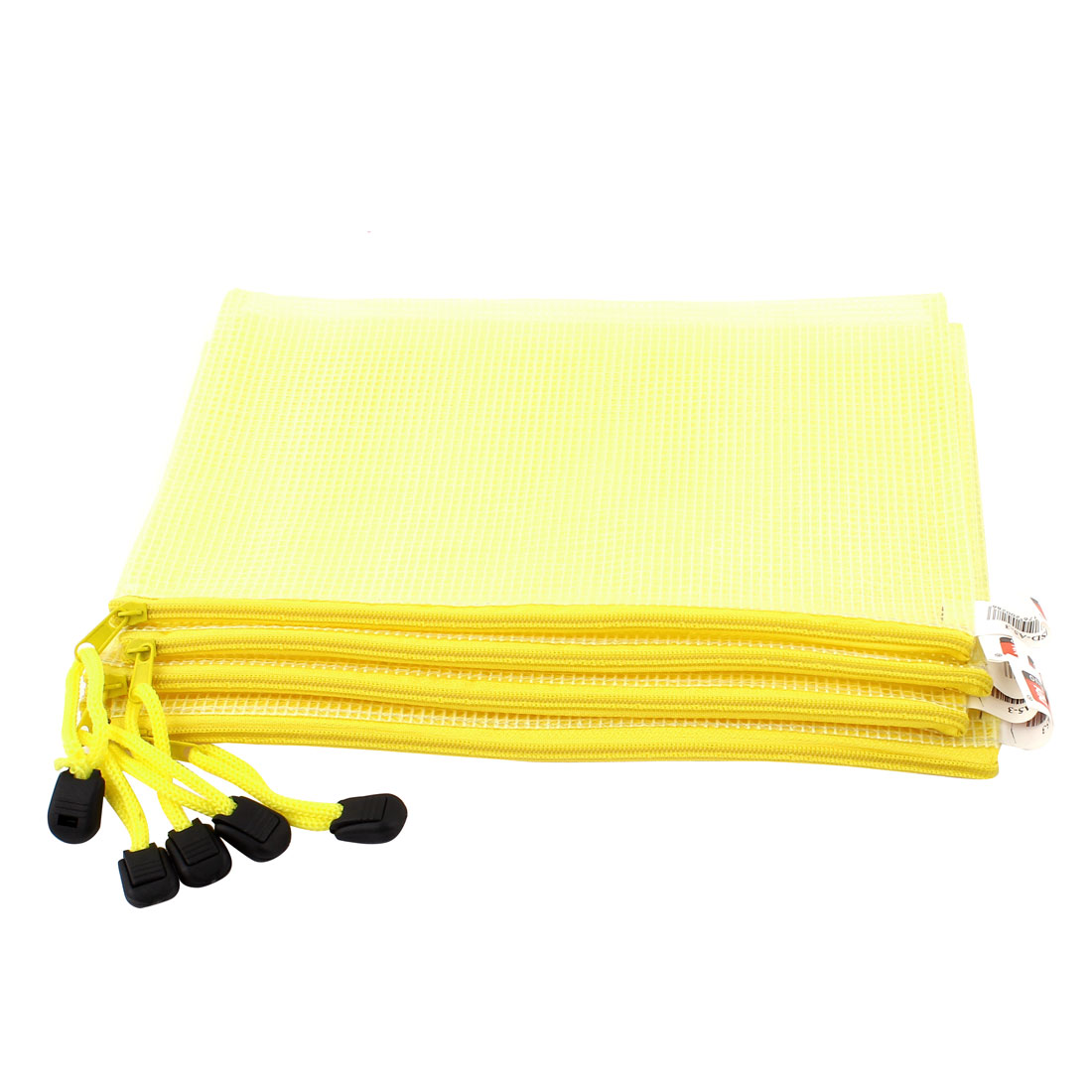 Zippered PVC Mesh Checkbook ID A5 Document File Bag Holder Pouch Yellow 5pcs