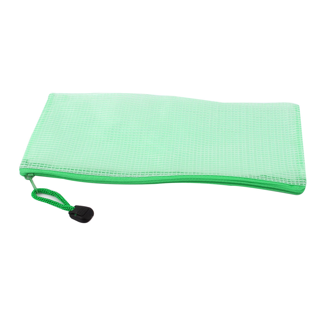 Zippered PVC Mesh A6 Paper Document File Storage Bag Holder Pouch Green