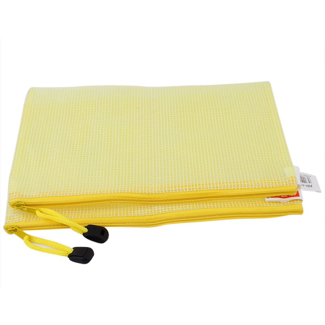 Zippered PVC Mesh Checkbook ID A5 Document File Bag Holder Pouch Yellow 2pcs