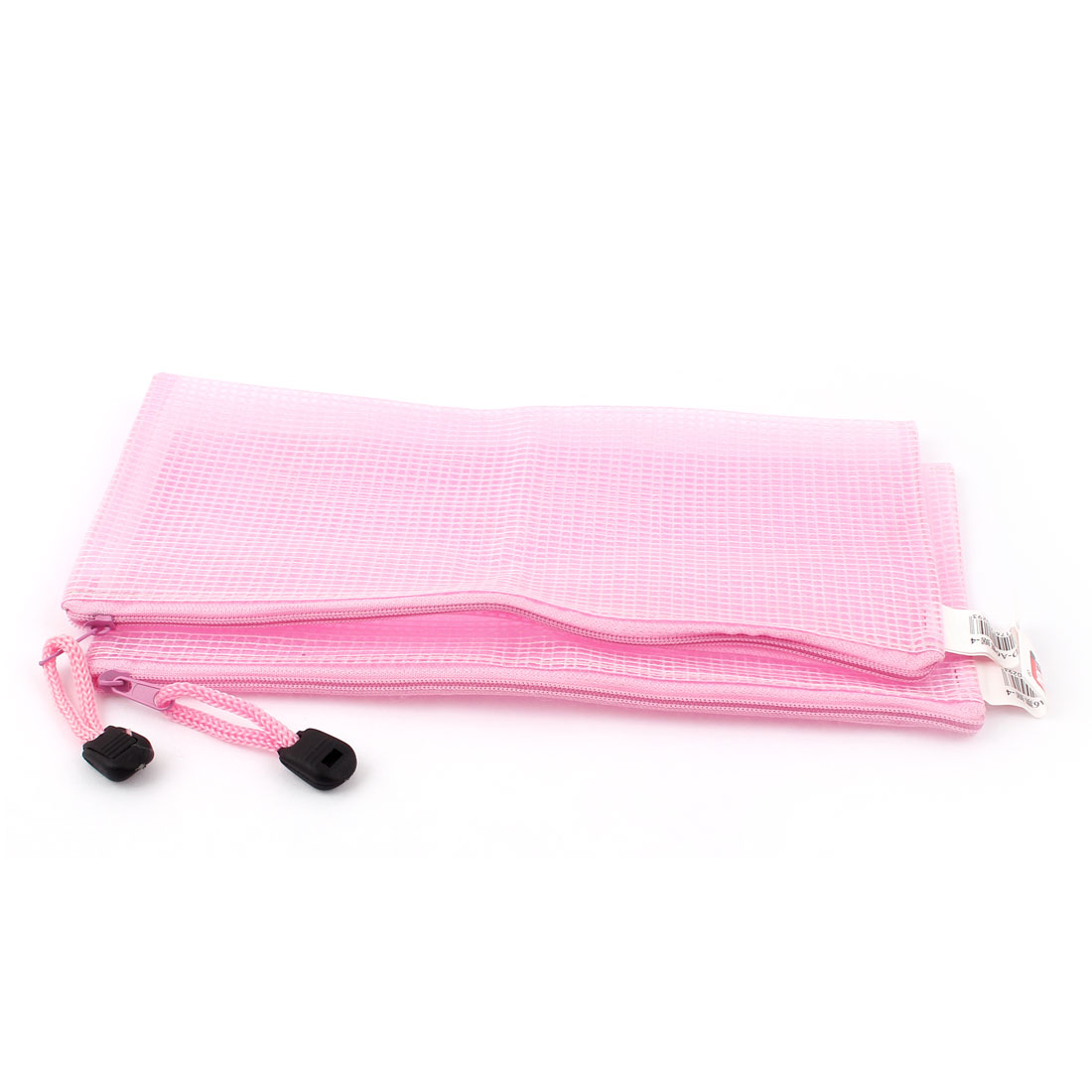 Zippered PVC Mesh A6 Paper Document File Storage Bag Holder Pouch Pink 2pcs