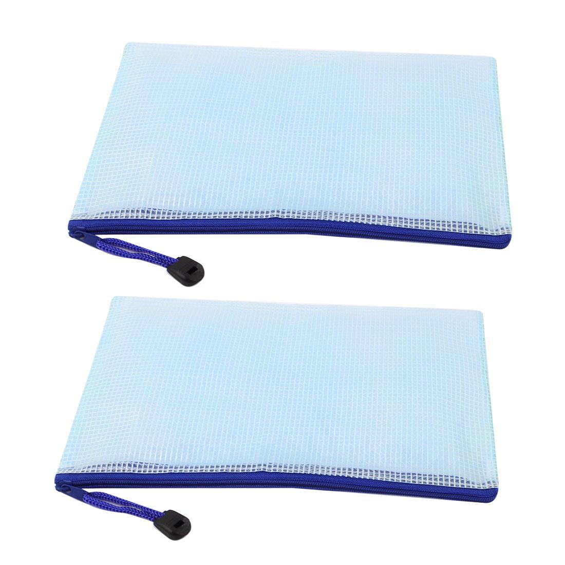 Zippered PVC Mesh Checkbook ID A5 Document File Bag Holder Pouch Blue 2pcs
