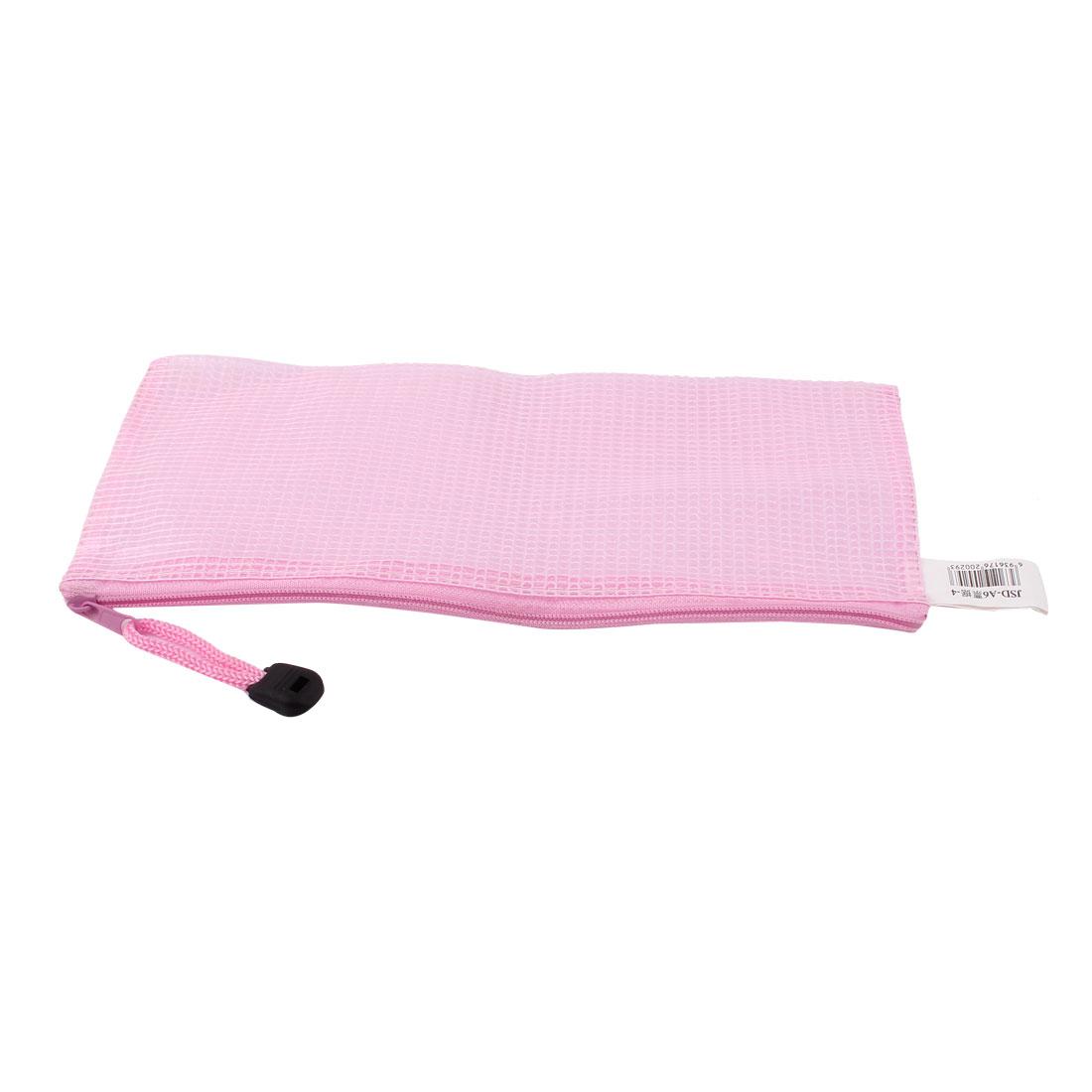 Zipper Closure PVC Mesh A6 Paper Document File Storage Bag Organizer Holder Pouch Pink