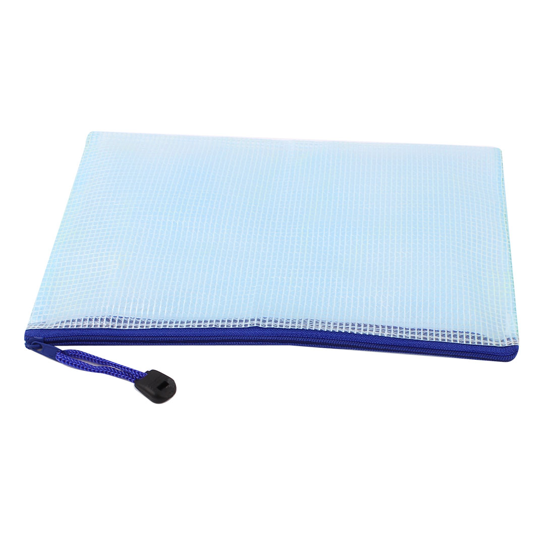 Zippered PVC Mesh Checkbook ID Cosmetic A5 Document File Bag Holder Pouch Light Blue