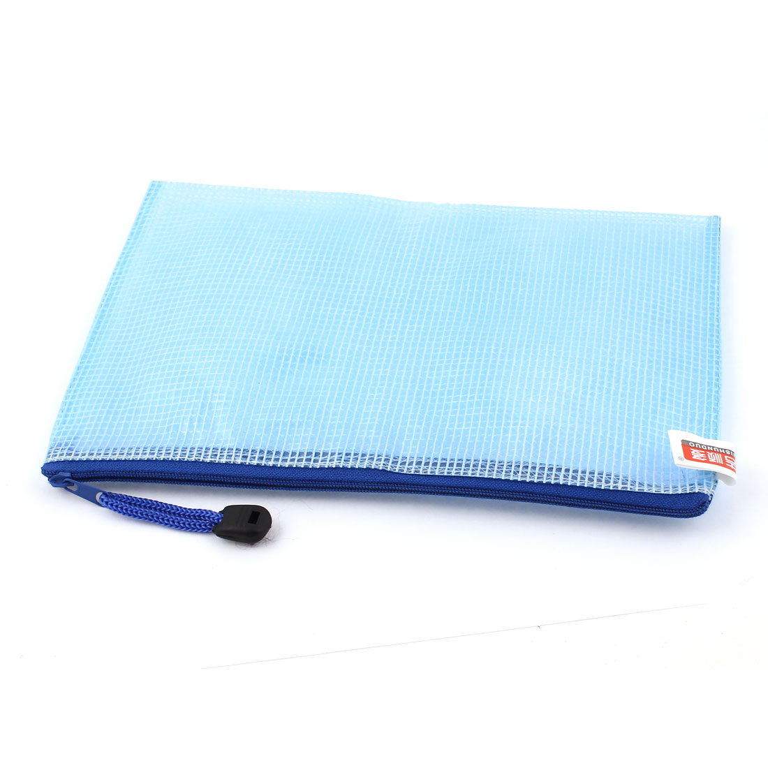 PVC Mesh Checkbook ID Cosmetic A5 Document File Bag Holder Pouch Blue