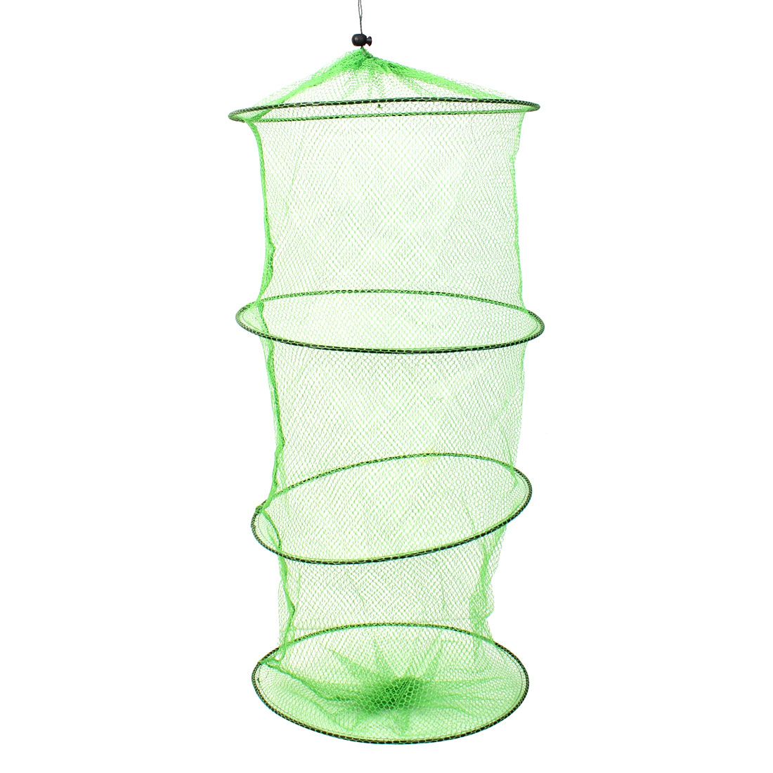 Collapsible 3 Sections Crab Fish Crayfish Eel Nylon Fishing Net Cage 65cm