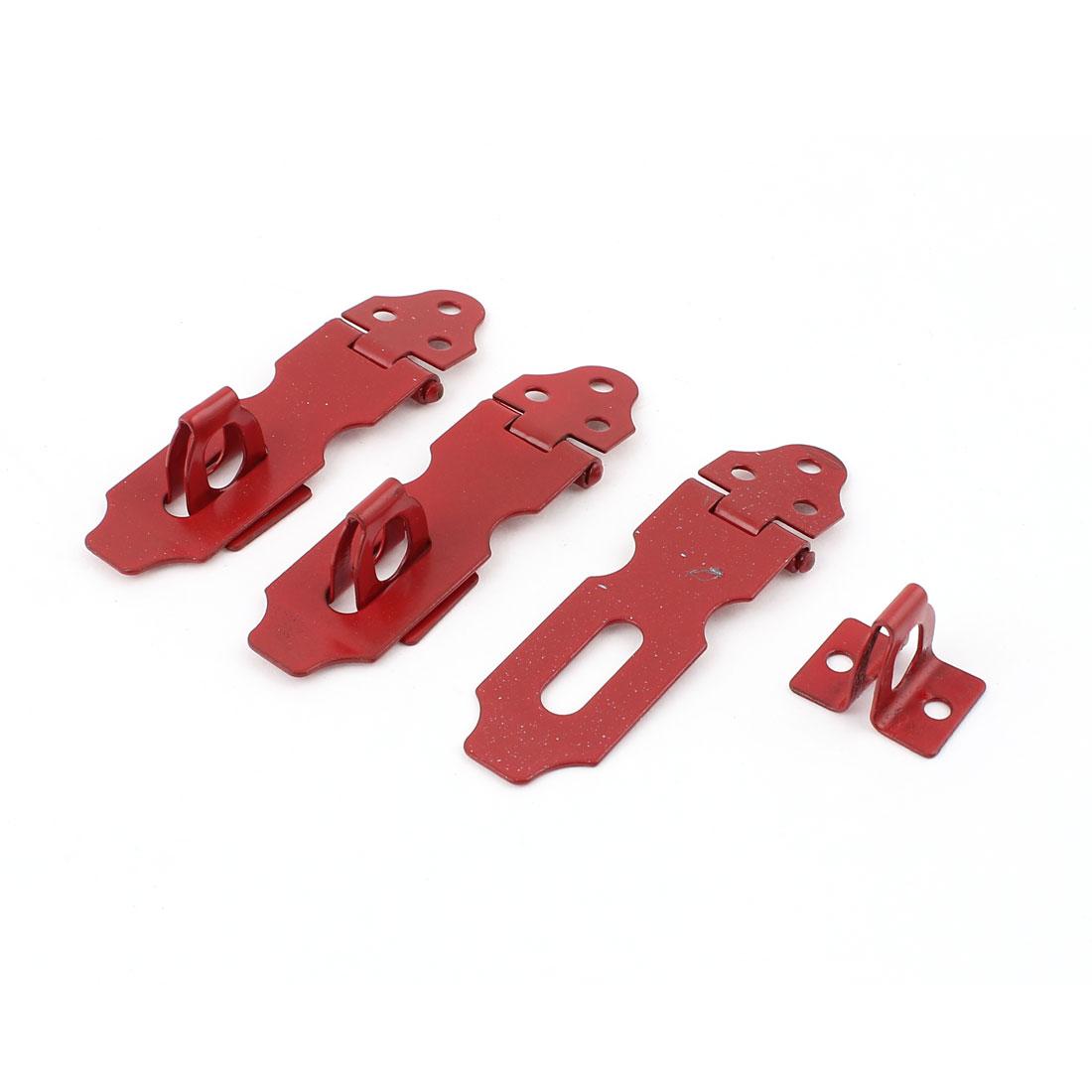 """Cabinets Cupboard Metal Security Padlock Door Clasp Hasp Staple 2.5"""" Red 3 Pcs"""