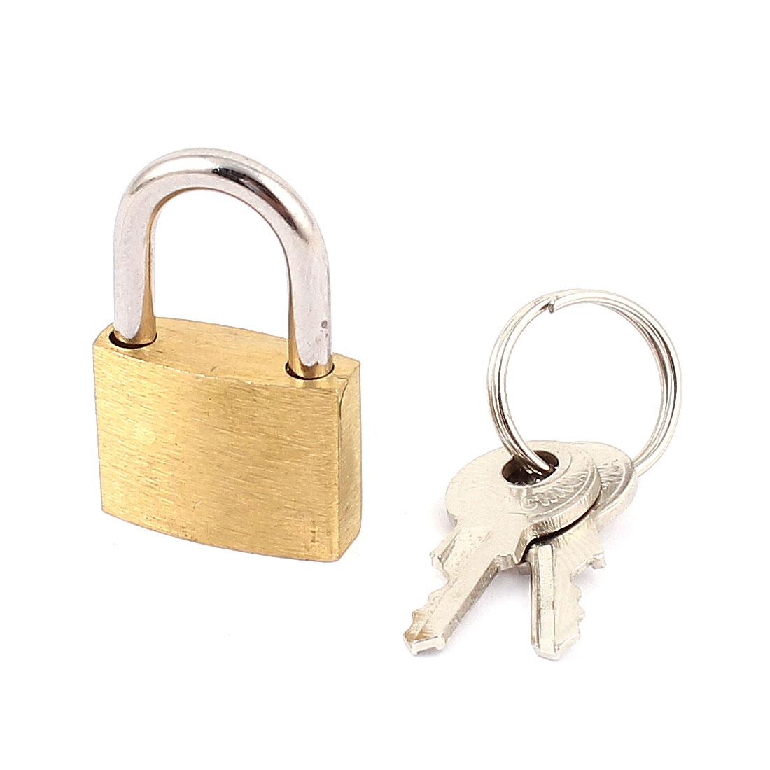 Metal Mini Tiny Box Cabinet Showcase Safety Padlock Locks Brass Tone w keys