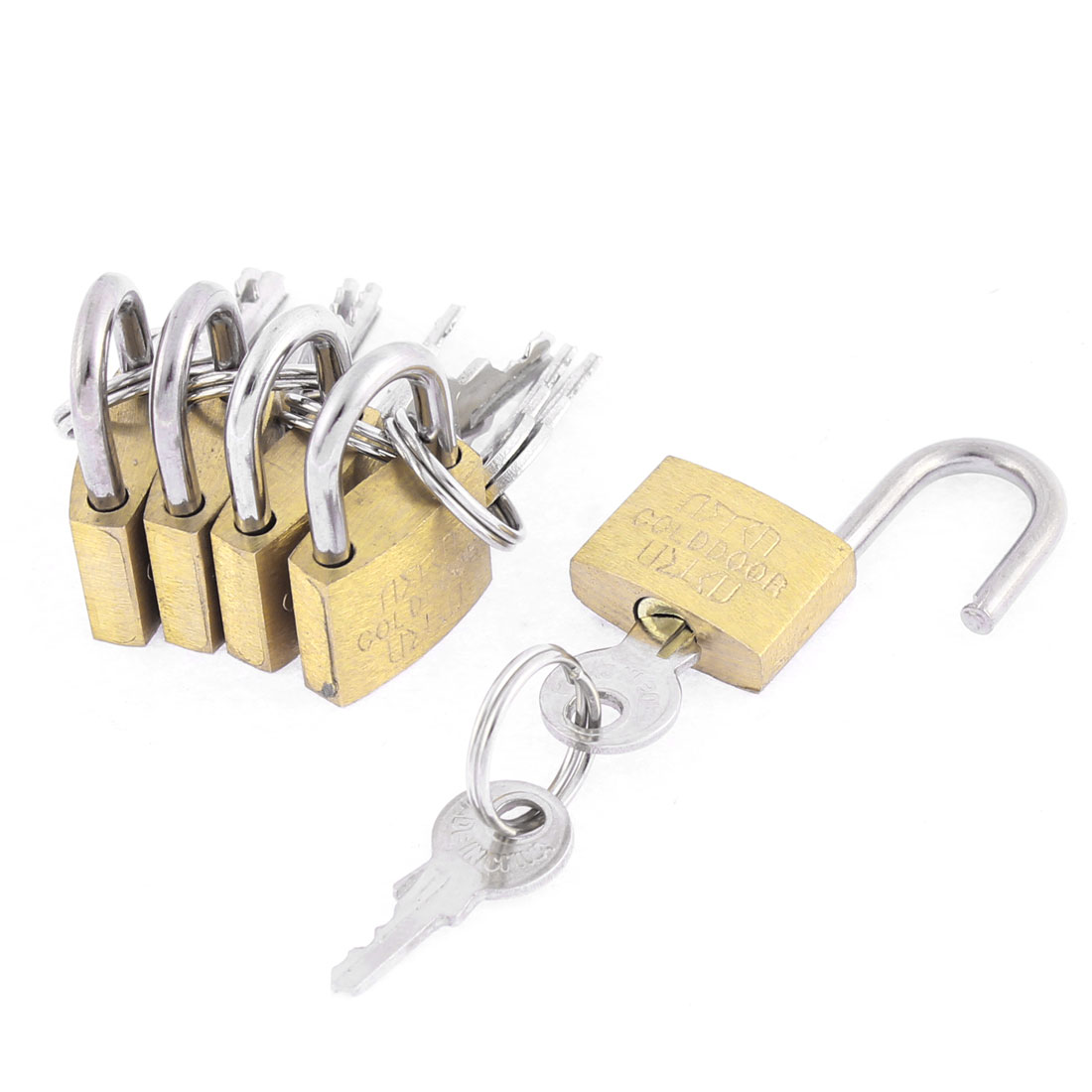 5 Pcs Metal Mini Tiny Drawer Cabinet Showcase Safety Padlock Locks Brass Tone w Keys