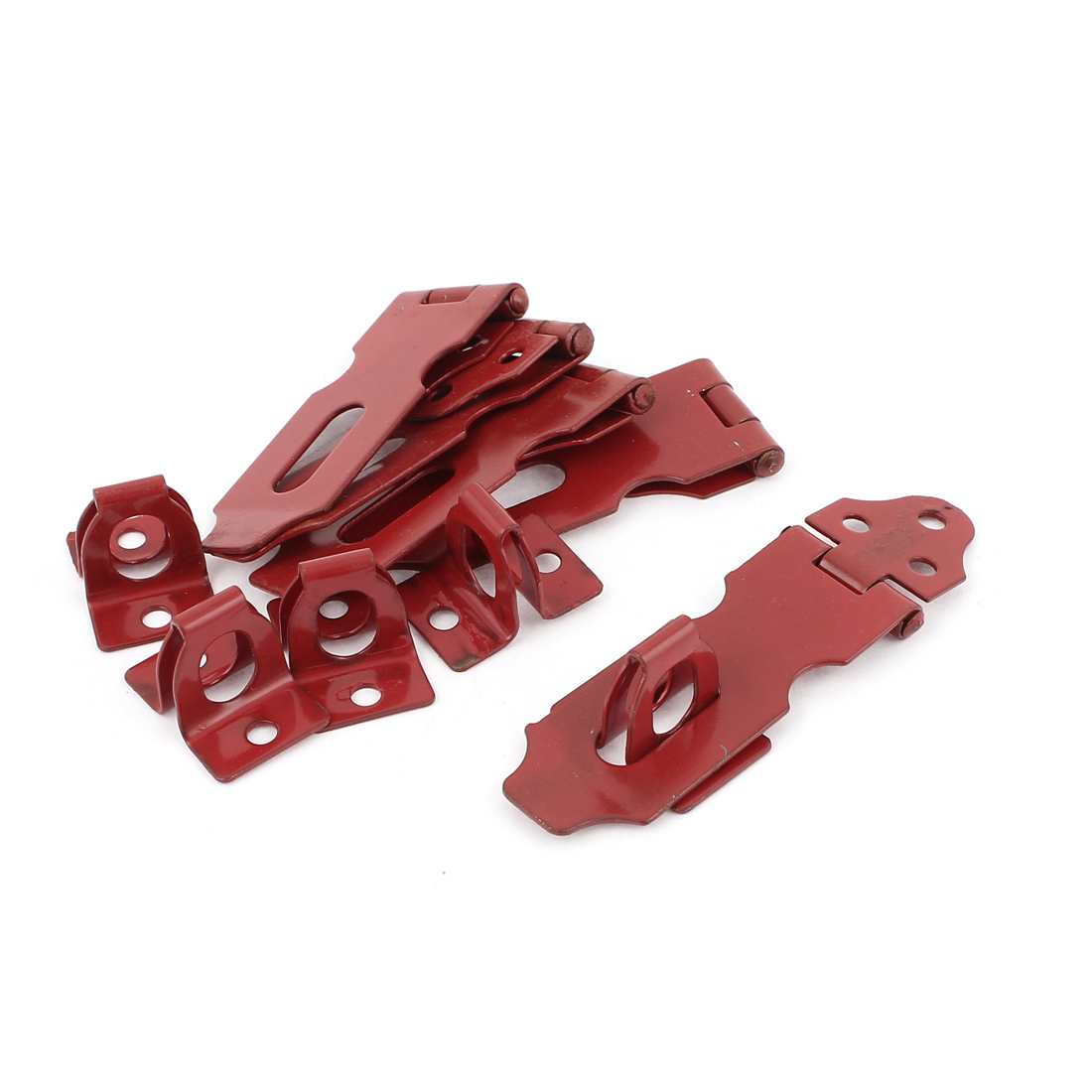 5 Pcs Home Cupboard Cabinets Doors Latch Hasp Staple Set 6cm Long Red