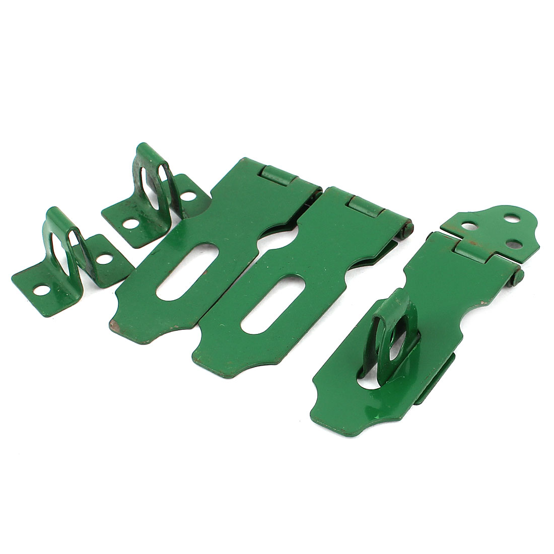 3 Pcs Home Cupboard Cabinets Doors Latch Hasp Staple Set 6cm Long Green