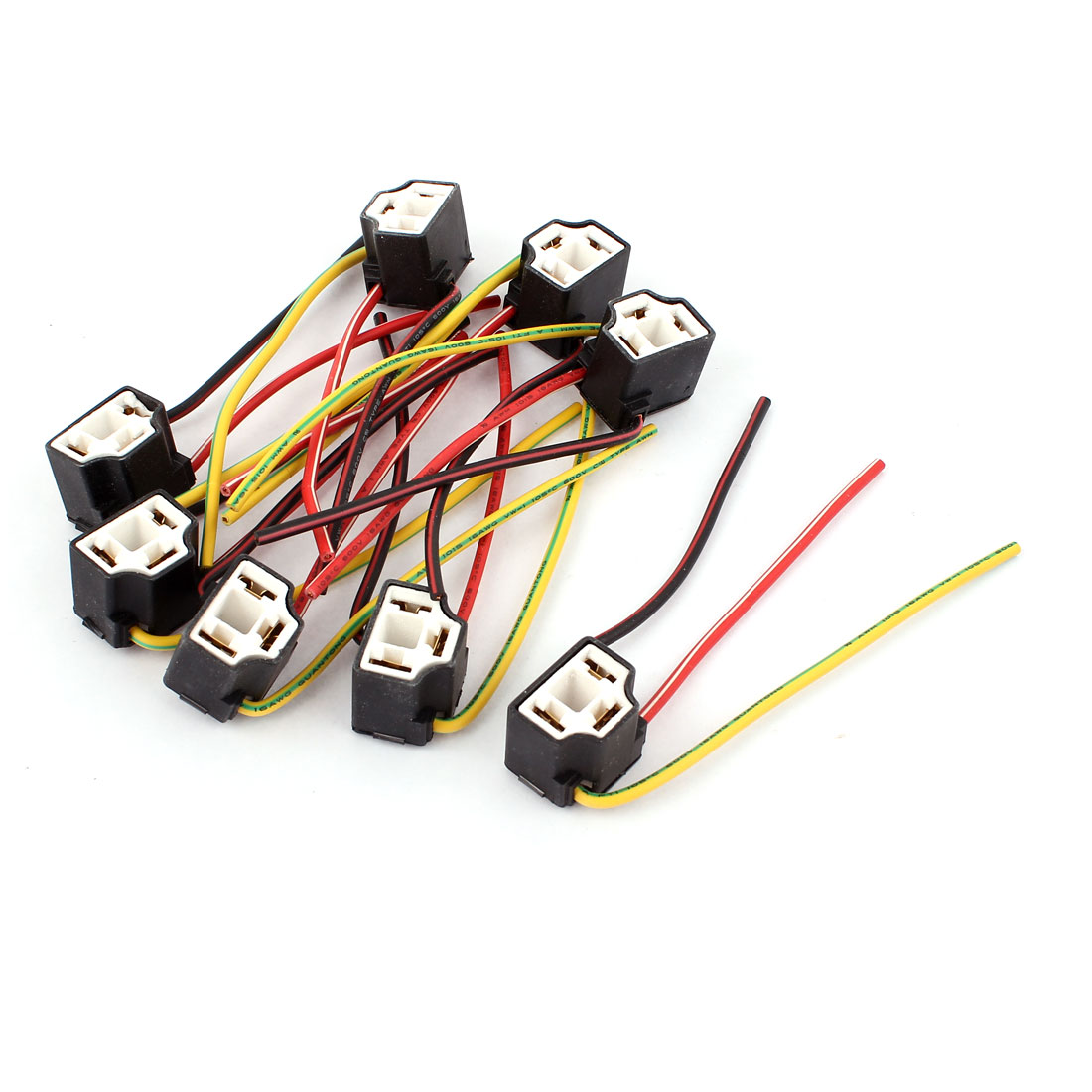 8 Pcs H4 Ceramic Wire Harness Connector Socket for Car Headlights Foglights
