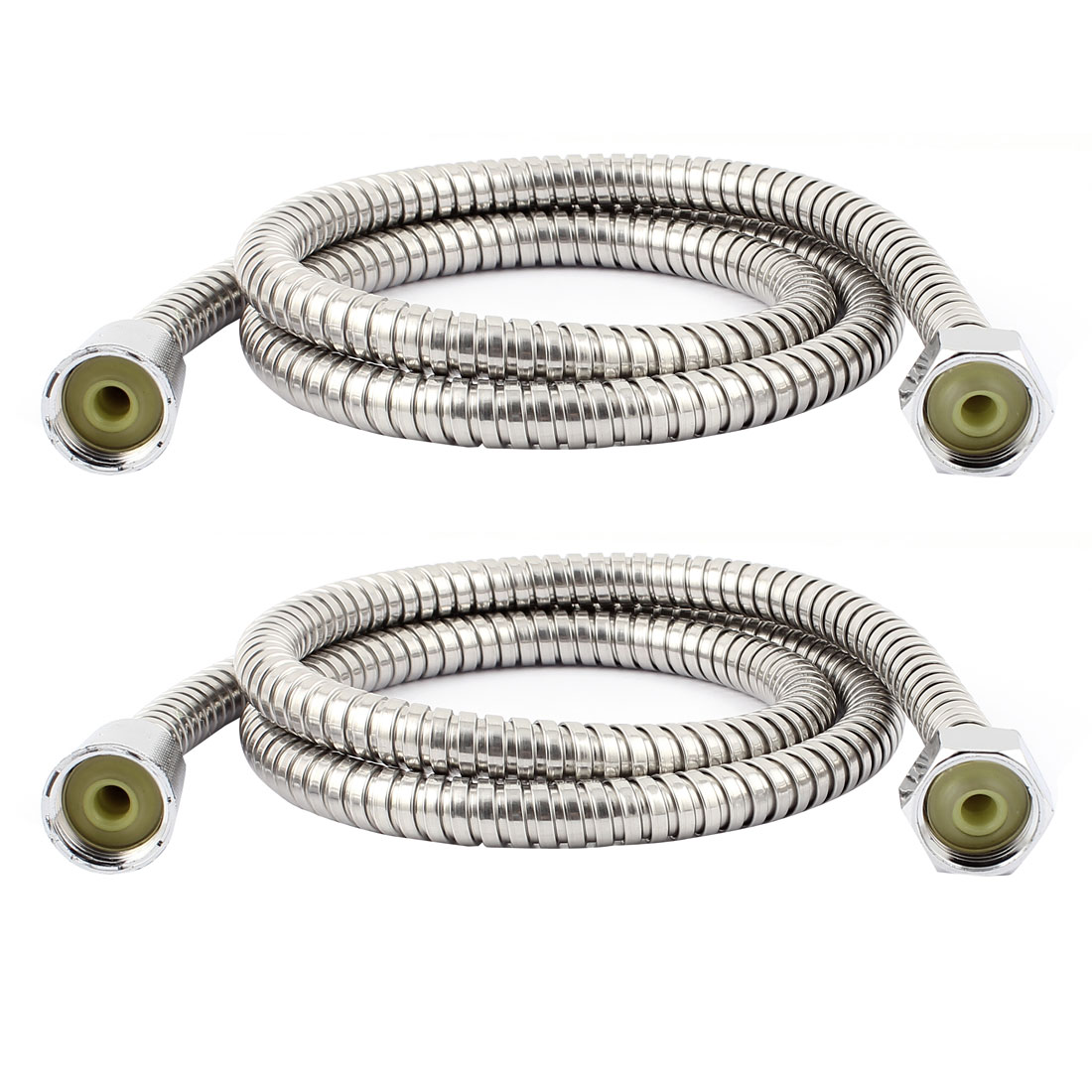 2 Pcs Stainless Steel Bathroom Shower Water Heater Flexible Hose Pipe 120cm 4ft Long