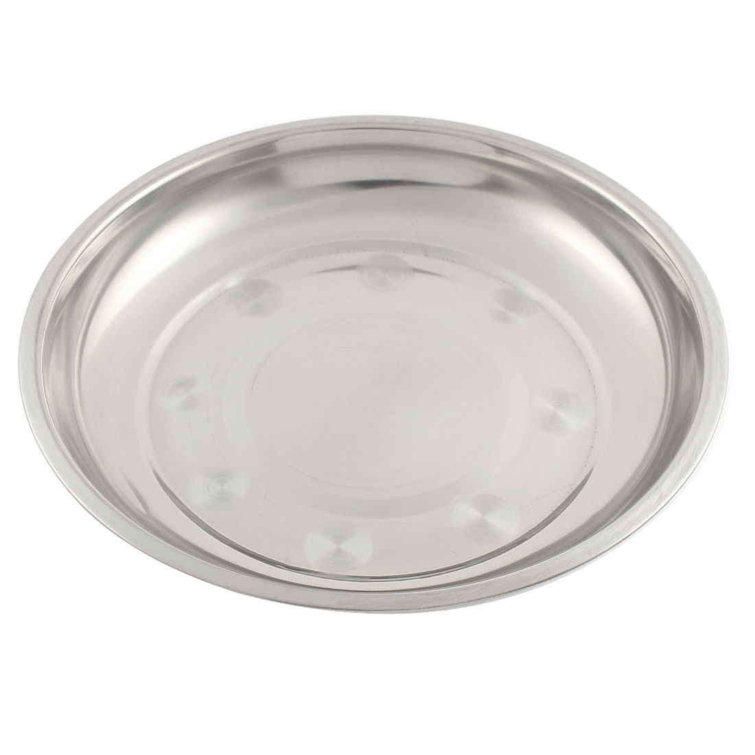 21cm x 3cm Round Silver Tone Stainless Steel Kitchen Dinner Plate Food Holder