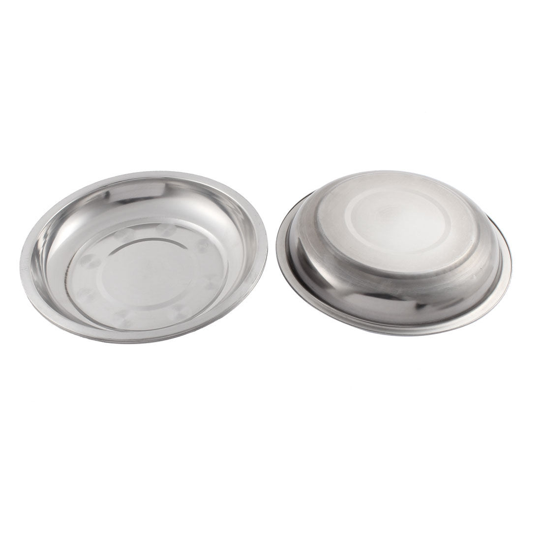 19cm x 3cm Round Silver Tone Stainless Steel Dinner Vegetables Plate Holder 5 Pcs