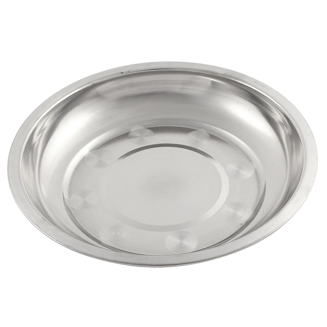 19cm x 3cm Round Silver Tone Stainless Steel Kitchen Dish Plate Food Holder