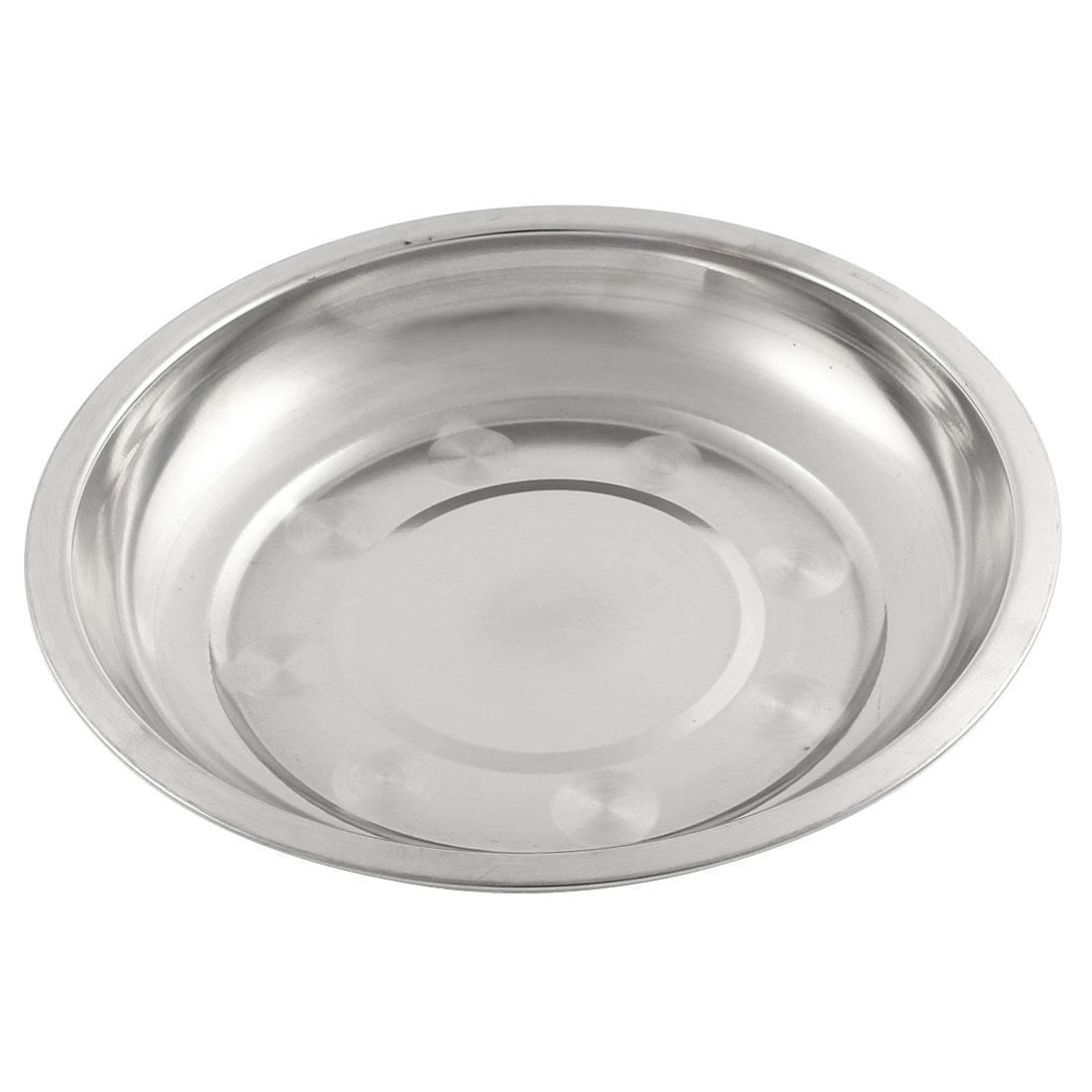 19cm x 3cm Round Silver Tone Stainless Steel Kitchen Dish Plate Food Holder