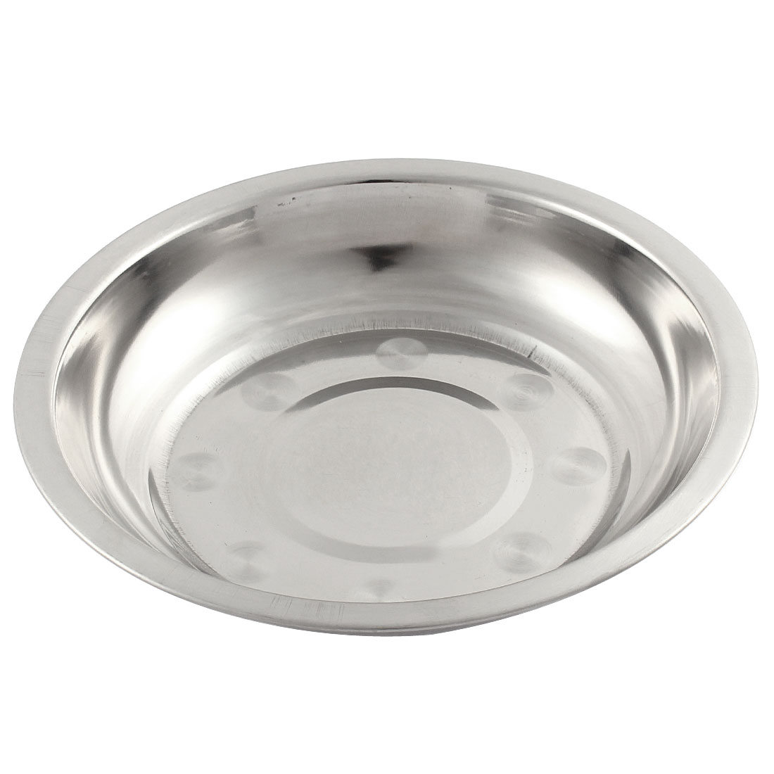 17cm x 3cm Round Silver Tone Stainless Steel Dinner Dish Plate Food Holder