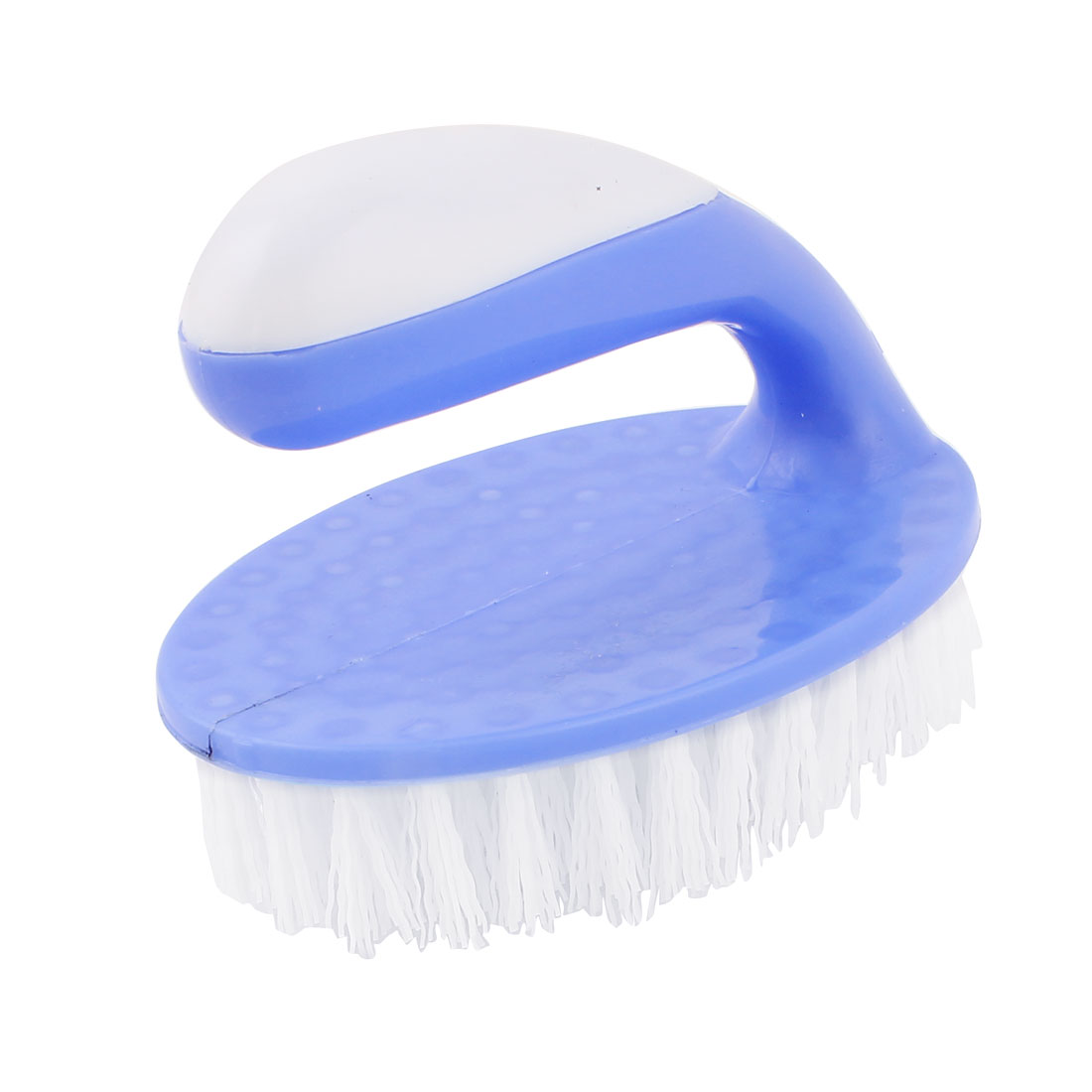 Plastic Oval Shaped Base Clothes Shoes Cleaning Washing Scrubbing Brush Blue