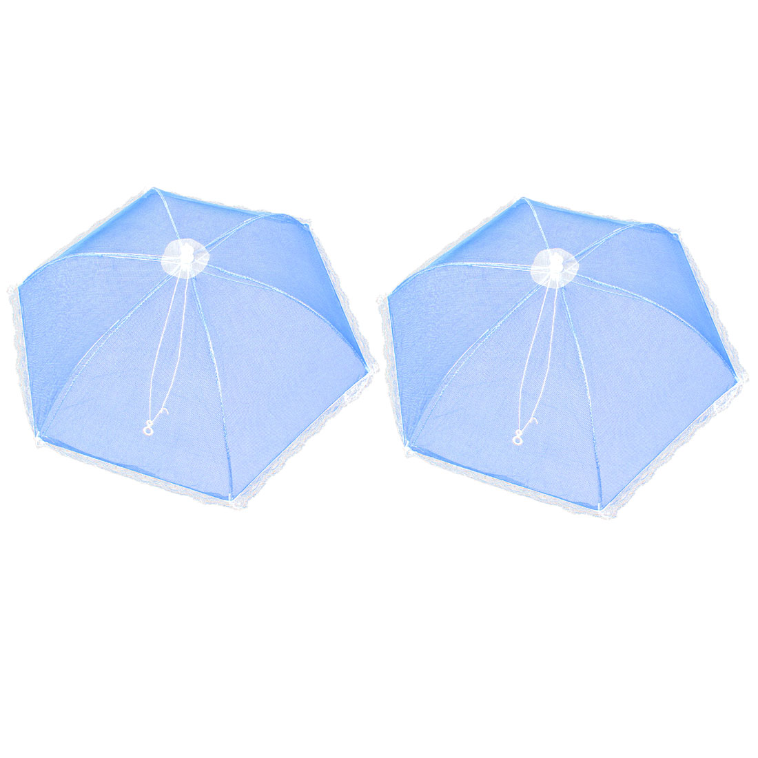 2 Pcs Kitchen Picnic Metal Frame Nylon Umbrella Shaped Foldable Food Cover Blue