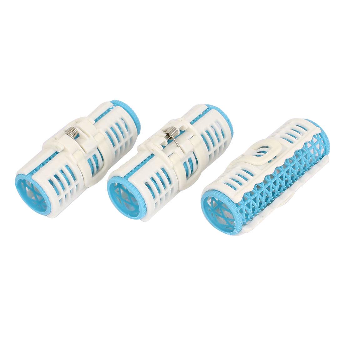 3pcs Plastic Women Hair Curler Roller Cling Clip Salon Tool Blue White