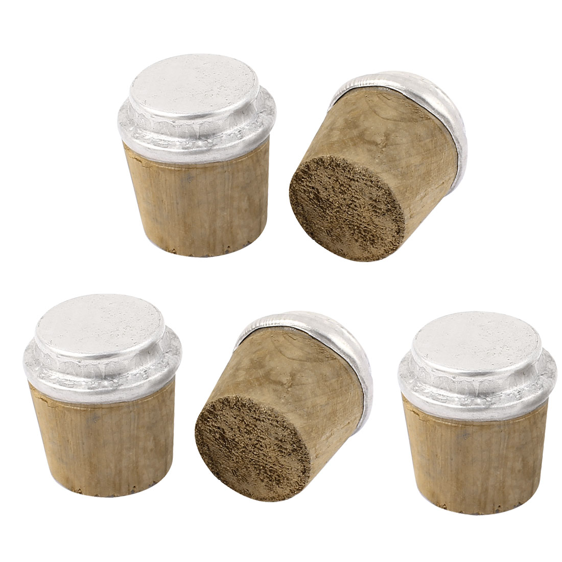 32mm Bottom Dia Wooden Insulating Bottle Cork Stoppers Silver Tone 5pcs