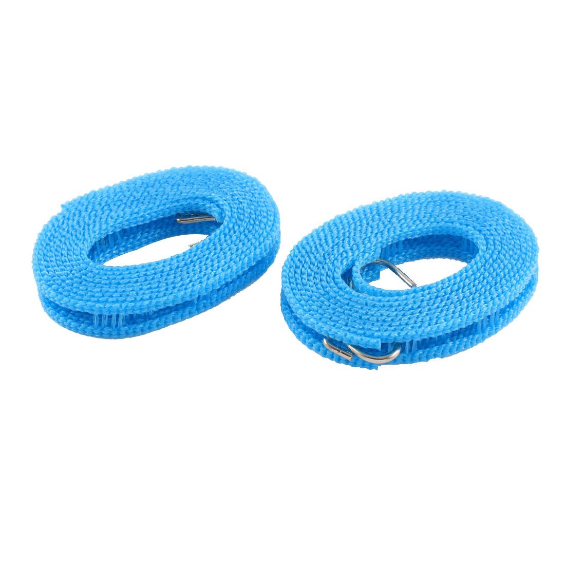 2 Pcs Nylon Nonslip Windproof Dual Hooks Braided Clothesline Hanger Blue 2M