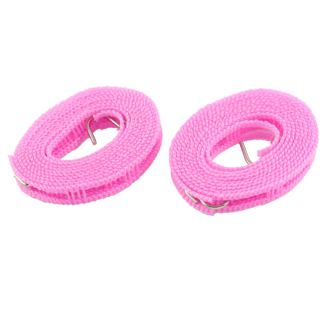 2 Pcs Metal Hooks Nonslip Windproof Folding Braided Clothesline Hanger Pink 2M