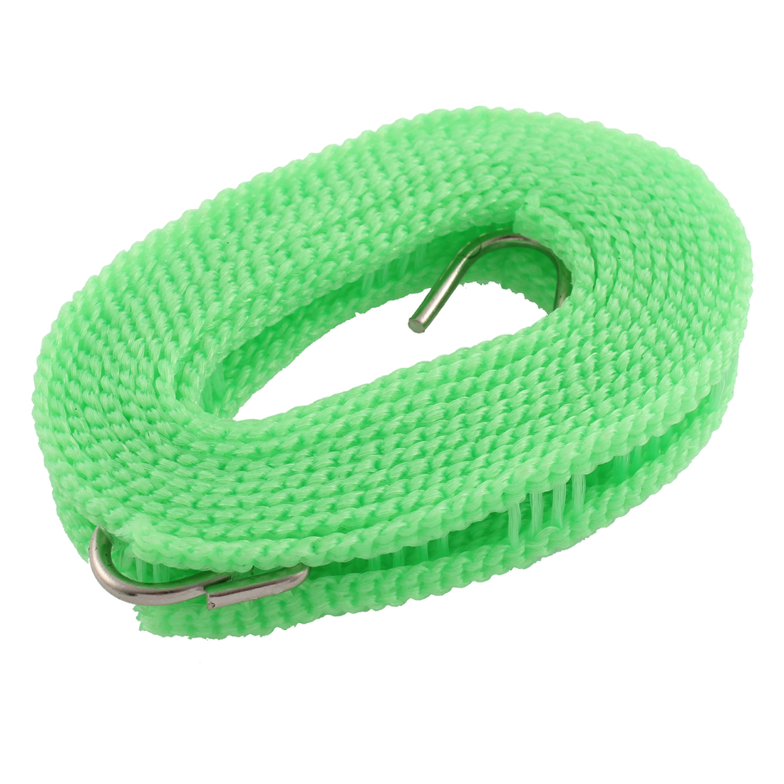 Outdoor Green Nylon Nonslip 2 Hooks Windproof Clothesline Rope Hanger 2M