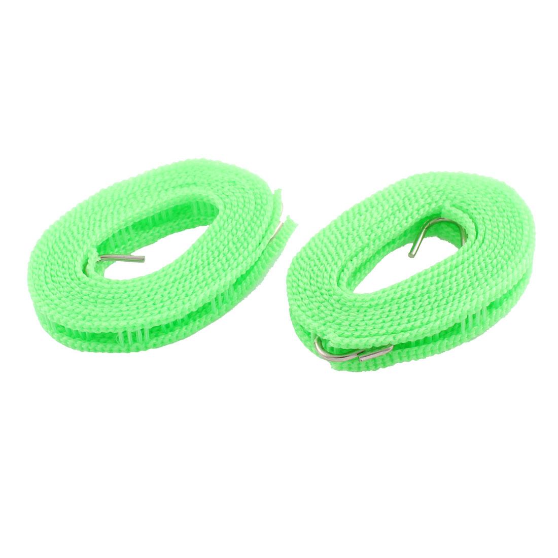 2 Pcs Metal Hooks Windproof Nonslip Flexible Braided Clothesline Green 2M