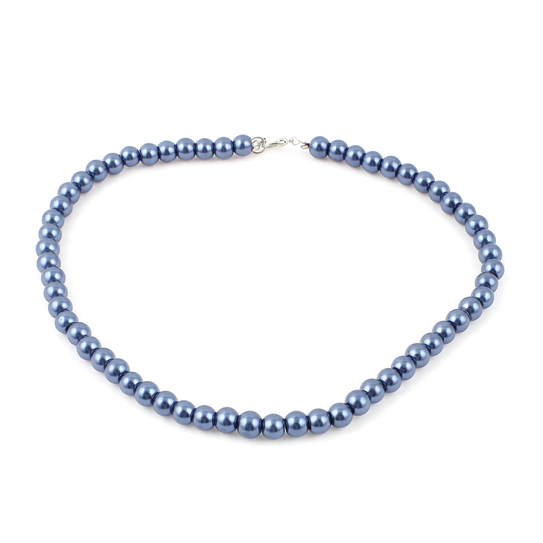 Single Strand Metal Clasp Costume Jewlery Imitation Pearl Necklace Dark Blue
