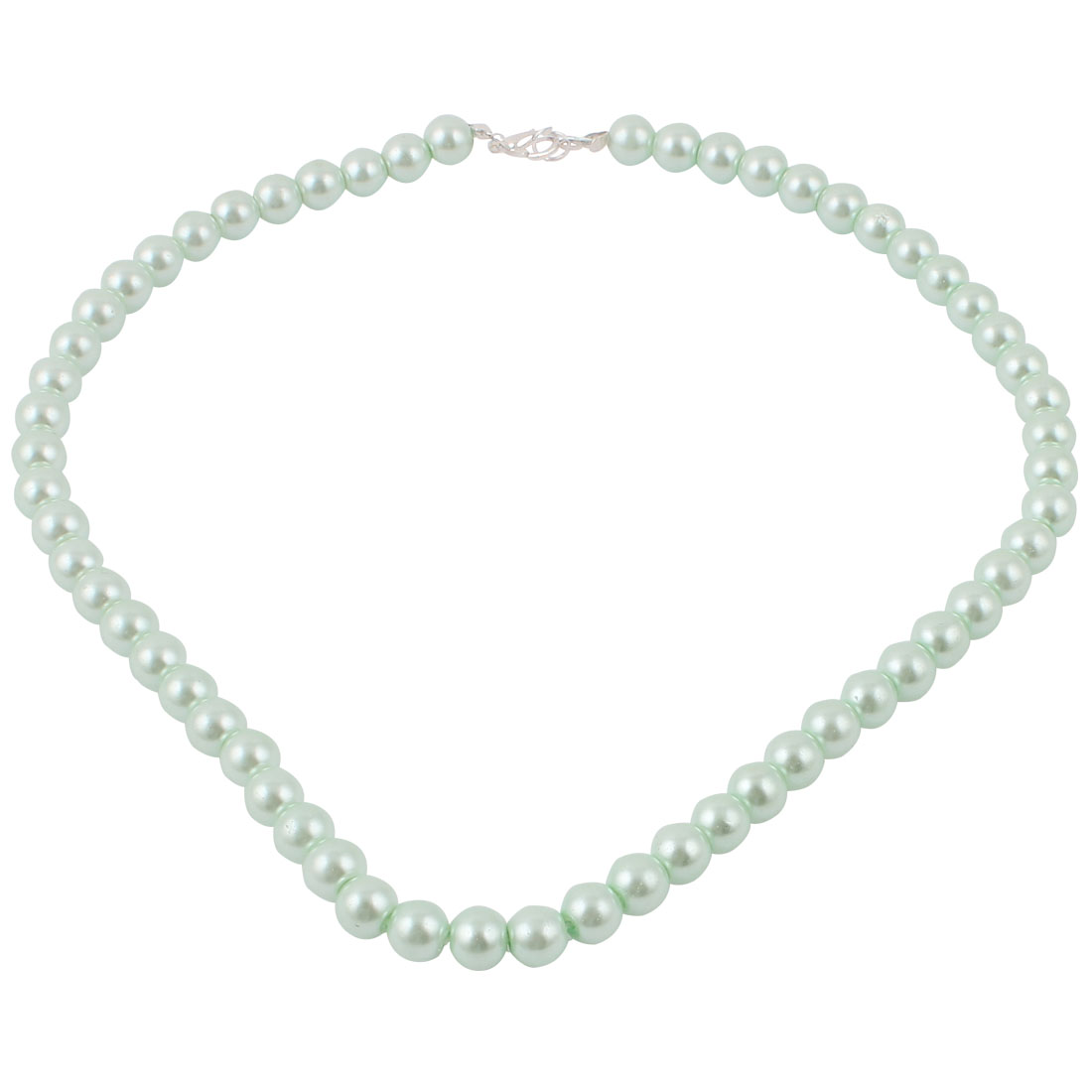 Women Single Strand Round Clasp Imitation Pearl Necklace Chain Jade Color