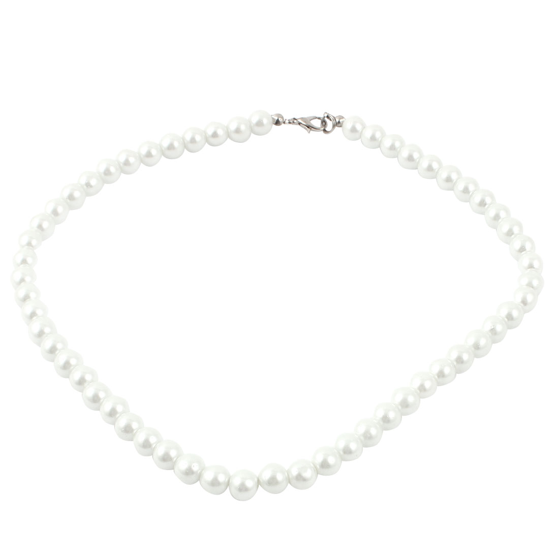 Ladies Single Strand Clasp Round Imitation Pearl Necklace Jewlery Off White
